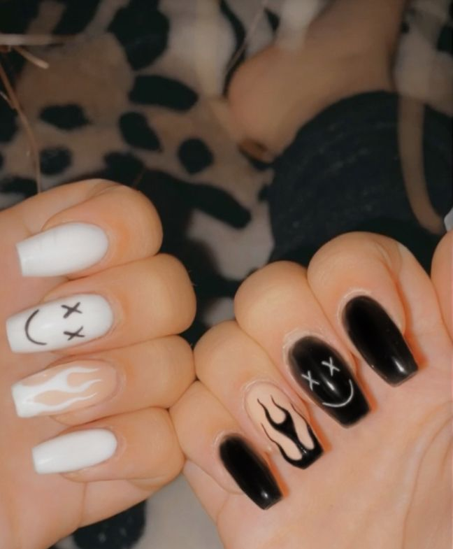 Smiley Black And White Nails Acrylic Nails Acrylic Nails Coffin Short Long Acrylic Nails Coffin Apply the lighter yellow mixture to the nails. acrylic nails coffin short