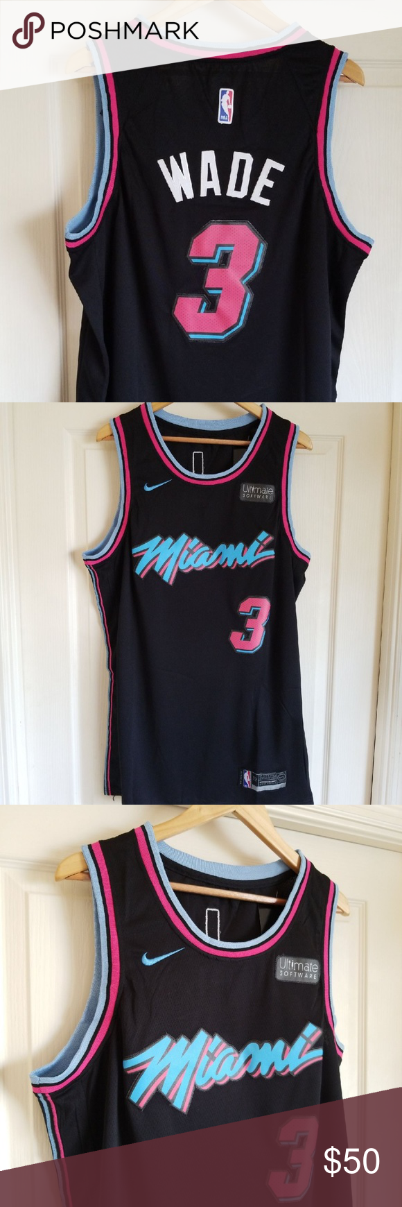 Dwyane Wade Black Miami Heat Vice Jersey Brand New With Tags Size 2xl Available Stitched Name And Numbers Same Or Next Da Clothes Design Nba Shirts Black
