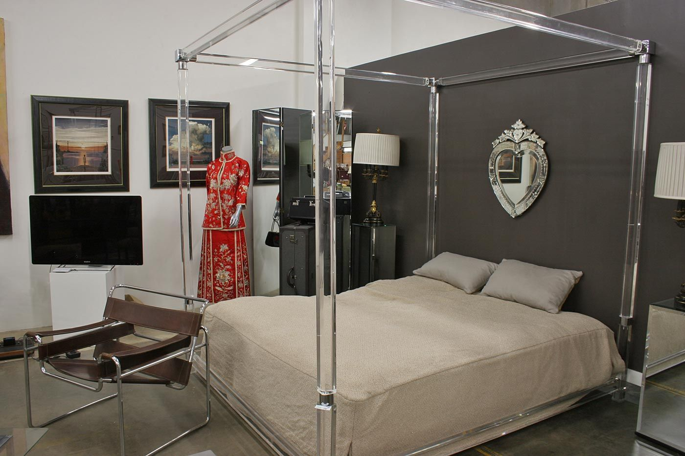 Charles Hollis Jones Lucite Canopy Bed Frame Great