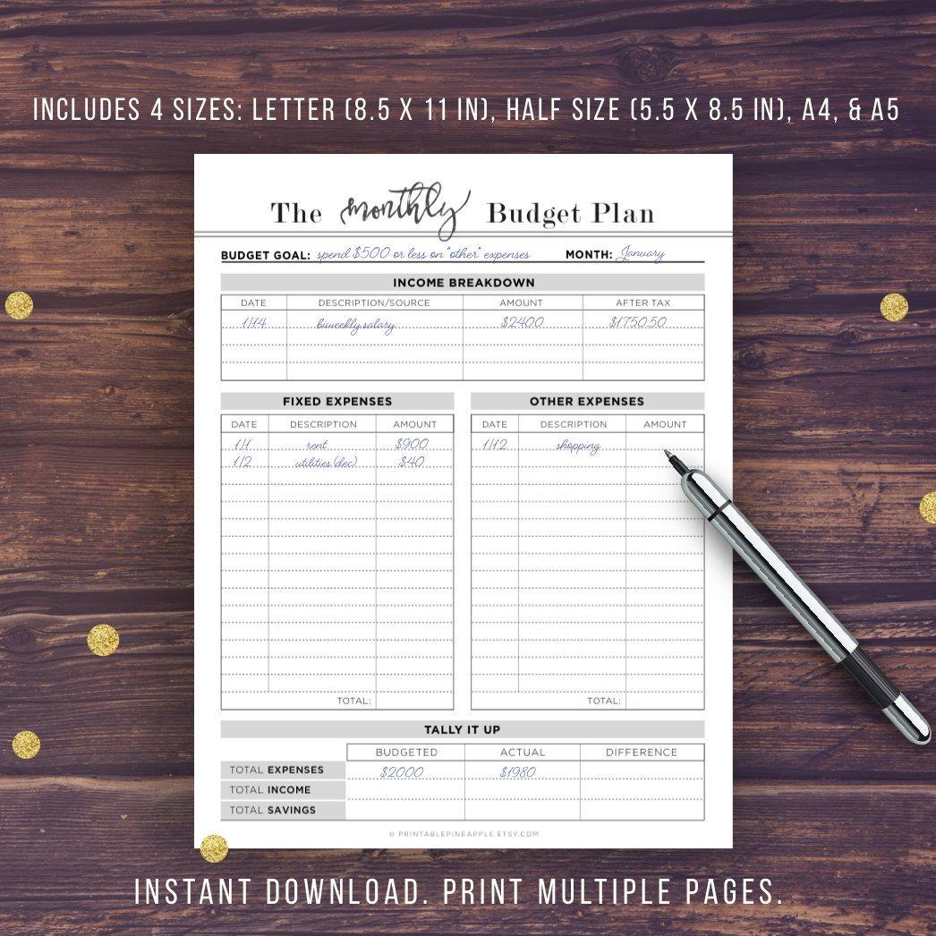 budget planner printable budget planner book a5 a4 letter half