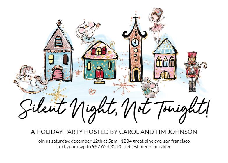 Silent Night Christmas Invitation Template Free Greetings Island Christmas Invitations Template Christmas Invitations Hosting Holiday Party