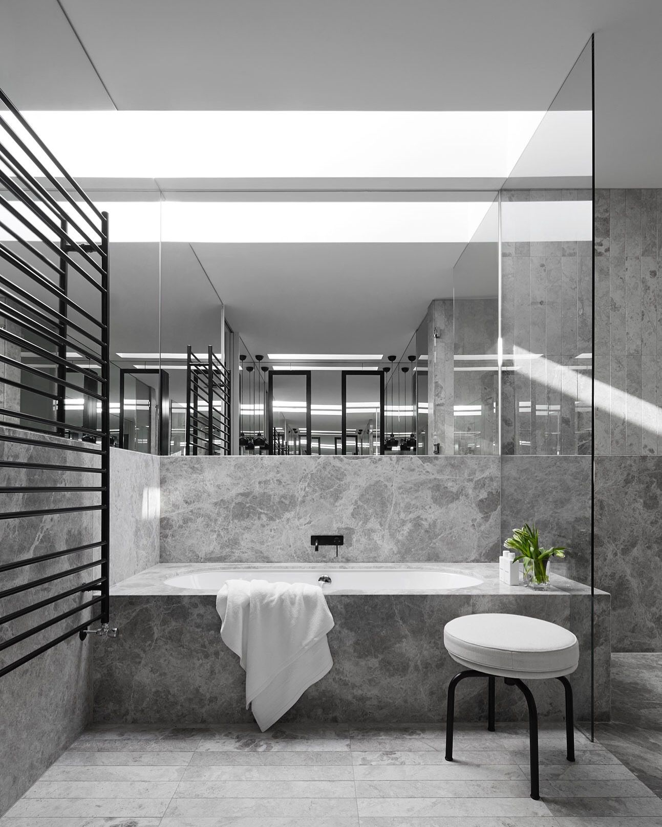 Portsea Grey Marble Bathroom By Mim Design