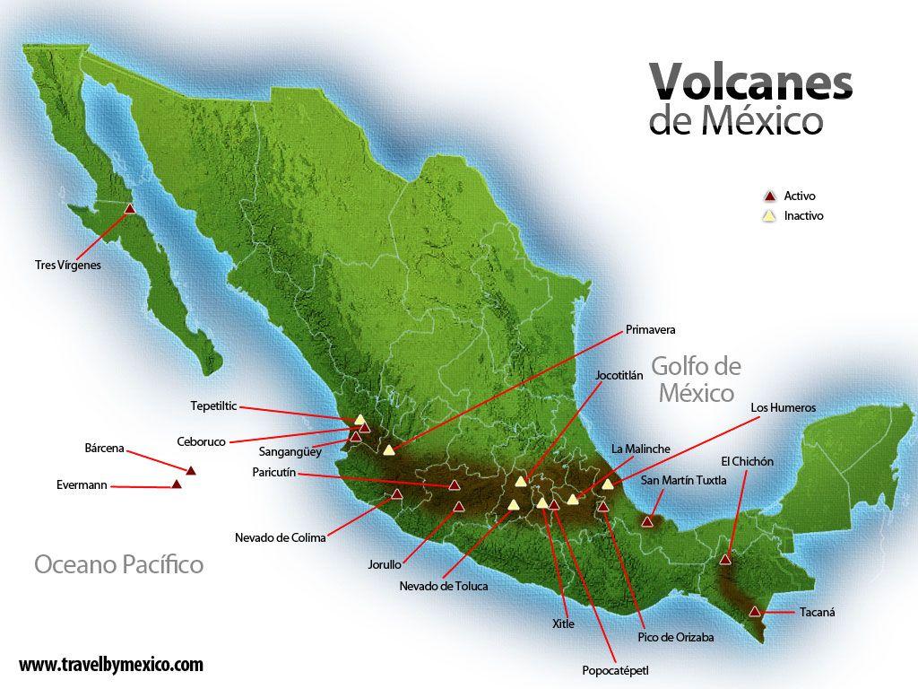 Mapa De Volcanes De Mexico Mapa De Mexico Volcanes Golfo De Mexico