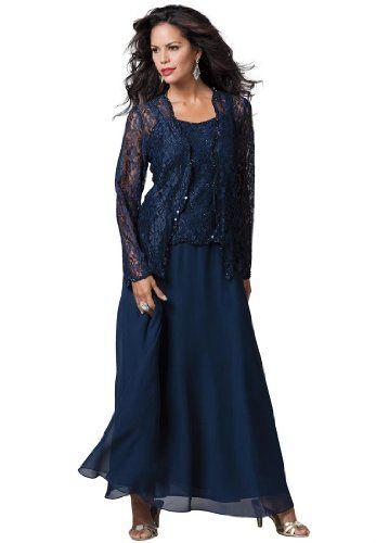 Roamans Womens Plus Size Lace And Chiffon Jacket Dress Navy26 W