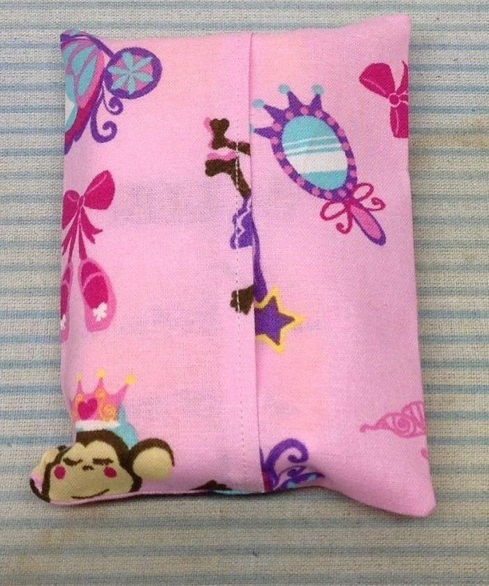 Pink Monkey Fabric Handmade Pocket Tissue Cover Birthday Gift Thank You