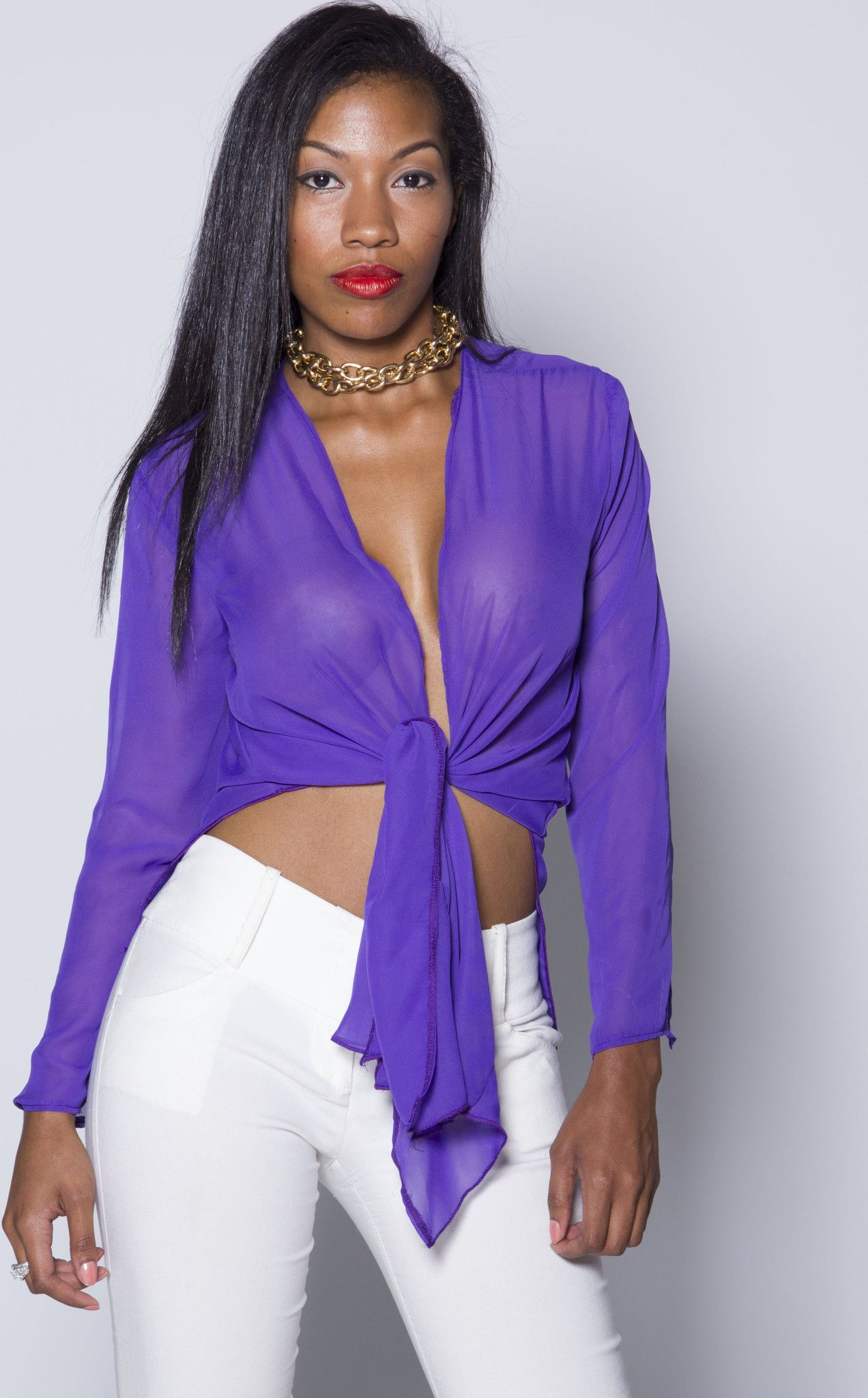 Purple Sheer Iammi Sexy Tie Blouse Small Medium Products