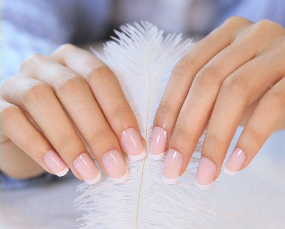 24Pcs/Set French Nail Tips Full Cover False Nails Natural Nude White ...
