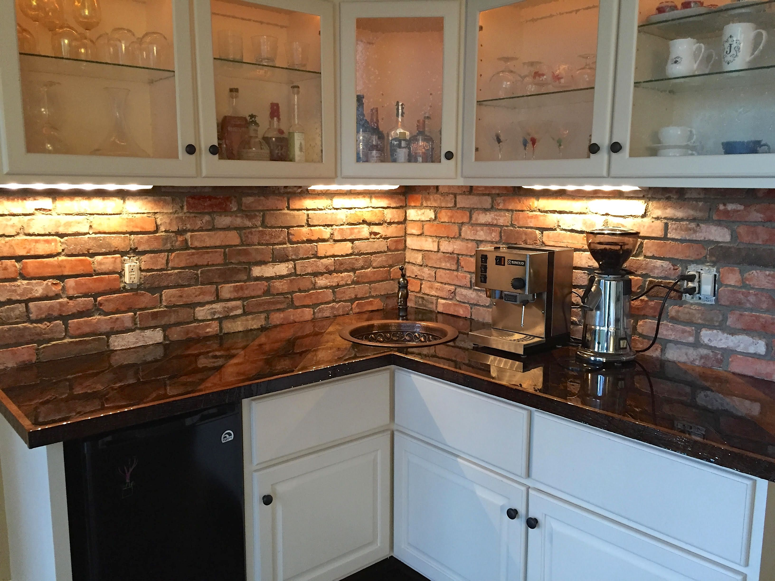 Thin Brick Tile Backsplash Installed In Kitchen A Similar Look Can Be Achieved With Our Fremont Col Brick Tiles Kitchen Brick Kitchen Brick Backsplash Kitchen