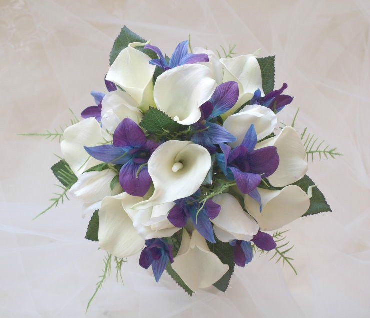 Blue purple orchids calla lily rose real touch bridal