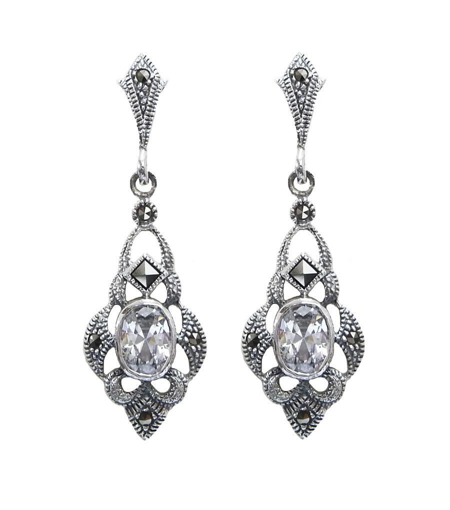 Silver Art Deco Inspired Marcasite Earrings – Katherine Swaine ...