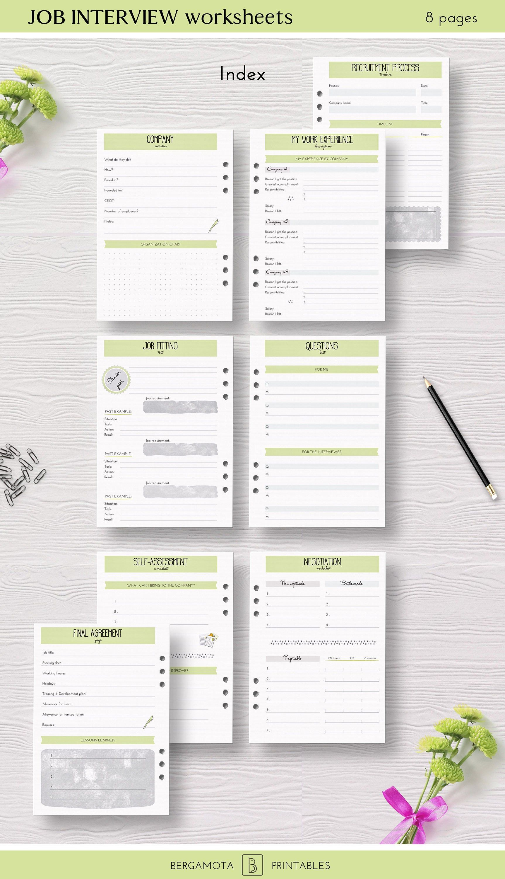 Job Interview Worksheets A 8 Printable Planner Pages A