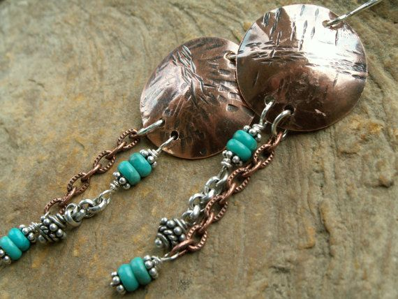 Boho Chimes  Textured copper round discs aged by RusticSouls, $39.00