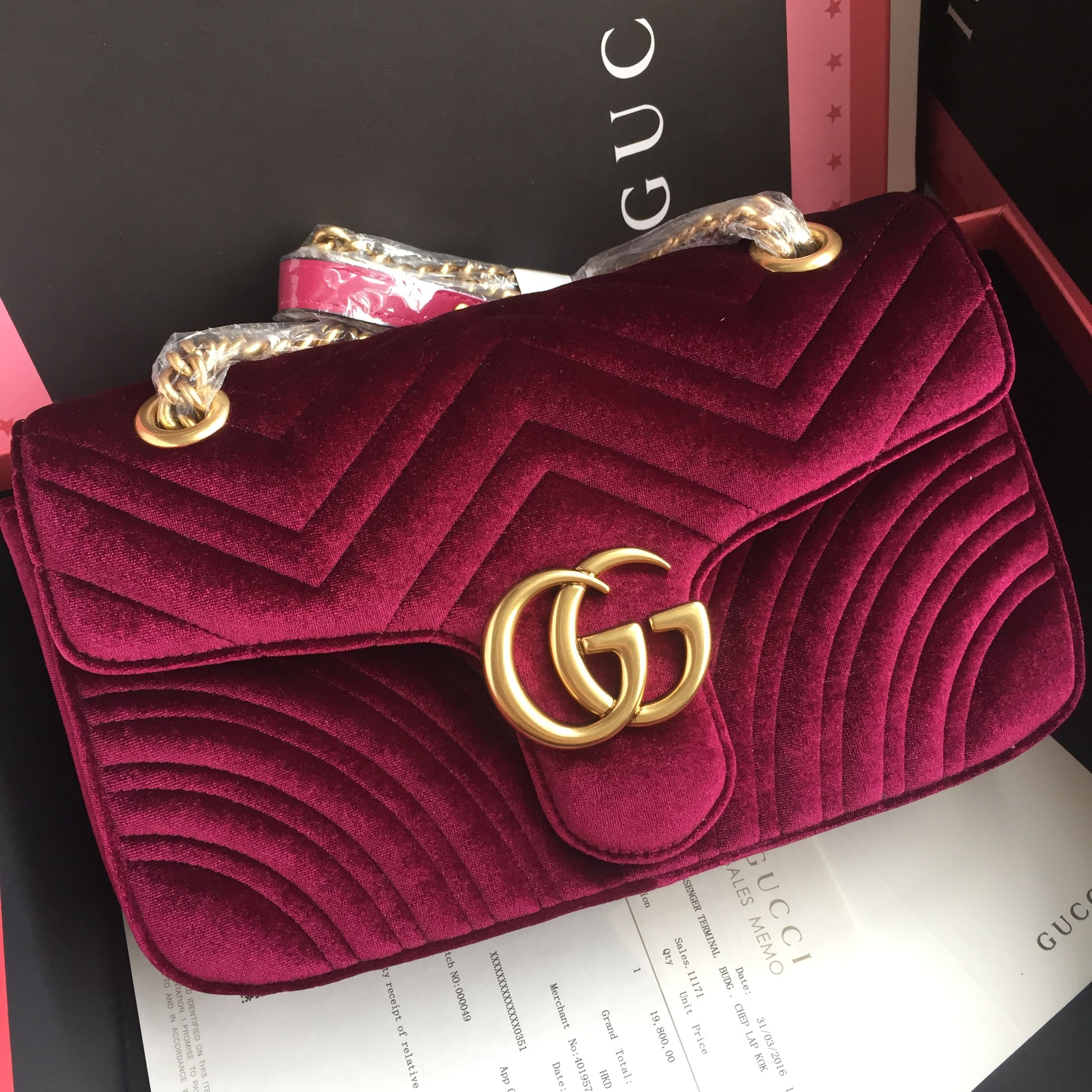 5ed84bb8a765 Gucci marmont velvet bag 26cm original leather wine red | Bags in ...