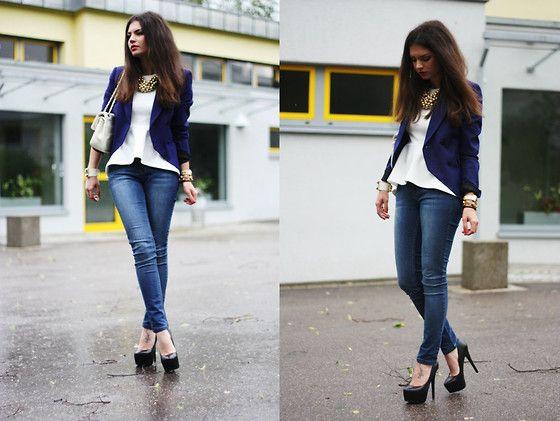 Zara Blazer, H&M Top, Oasis Jeans, Steve Madden Pumps, Moschino Bag