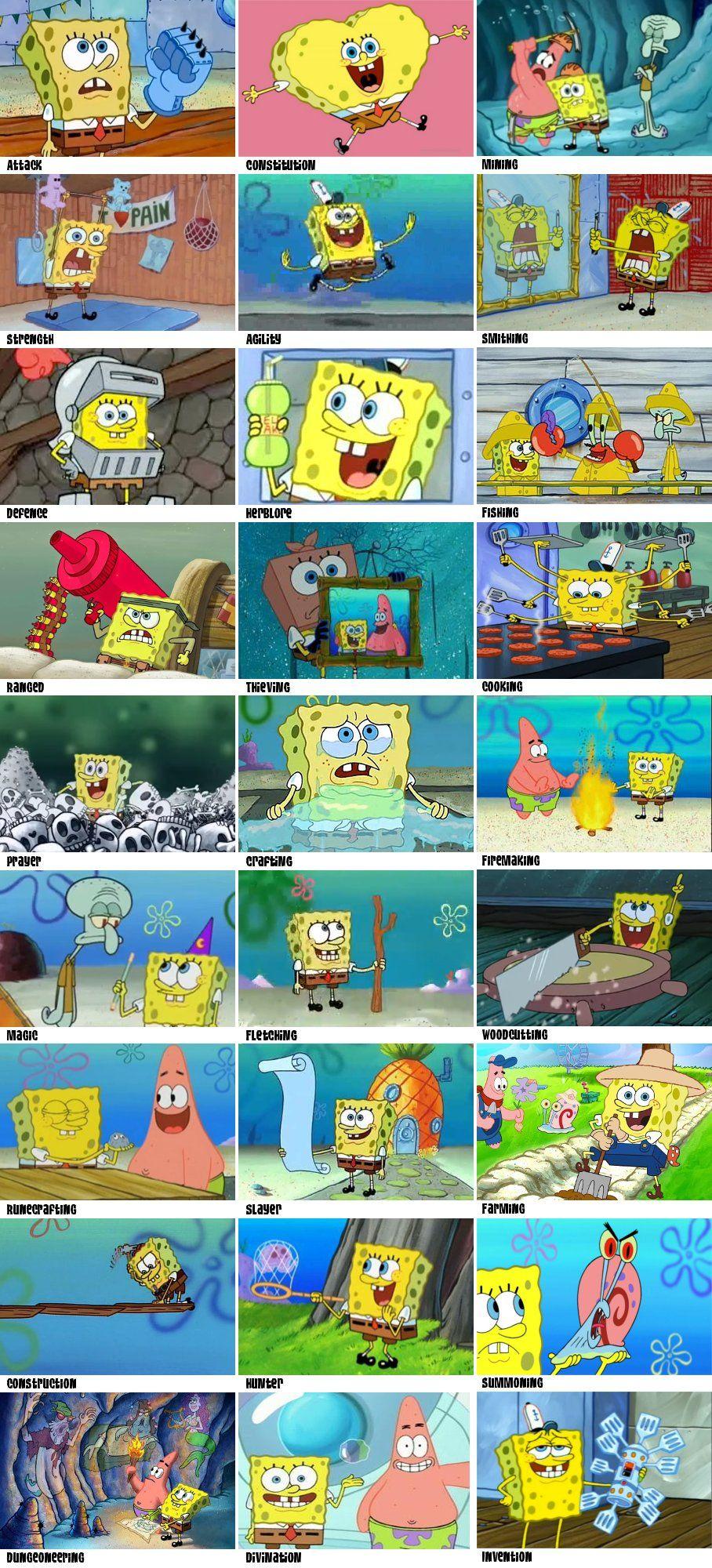 Spongebob training runescape skills