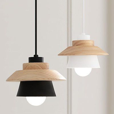 Details about Modern Wood Pendant Light White Black Metal Bar Kitchen Ceiling Lamp Lighting #pendantlighting