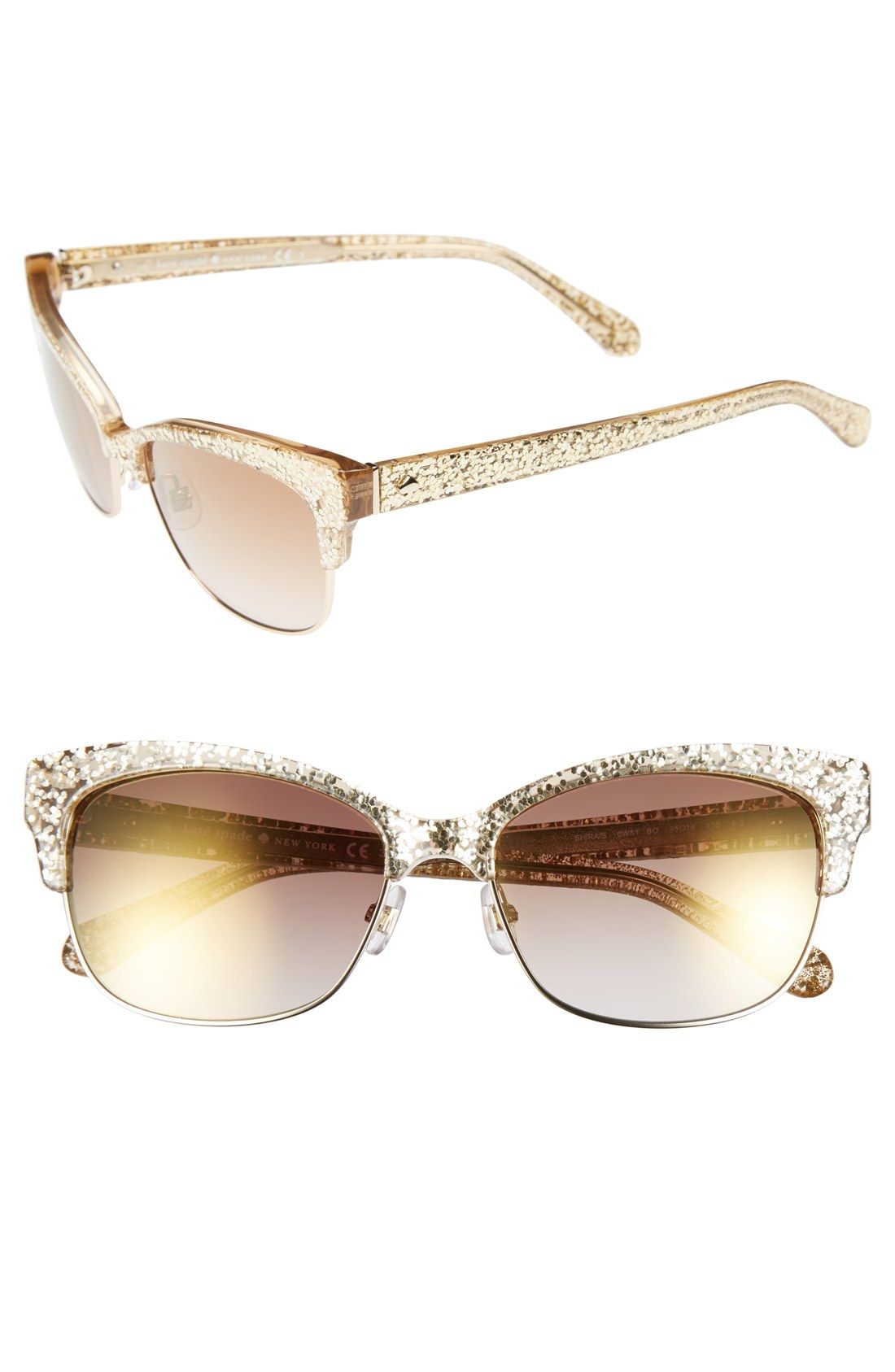 071ebdd36d0 Swooning over these Kate Spade gold glitter sunnies!