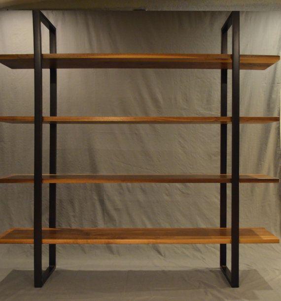 Floating Walnut And Steel Bookcase By Fabitecture On Etsy 1900 00 Steel Bookshelf Bookcase Wood Bookshelves