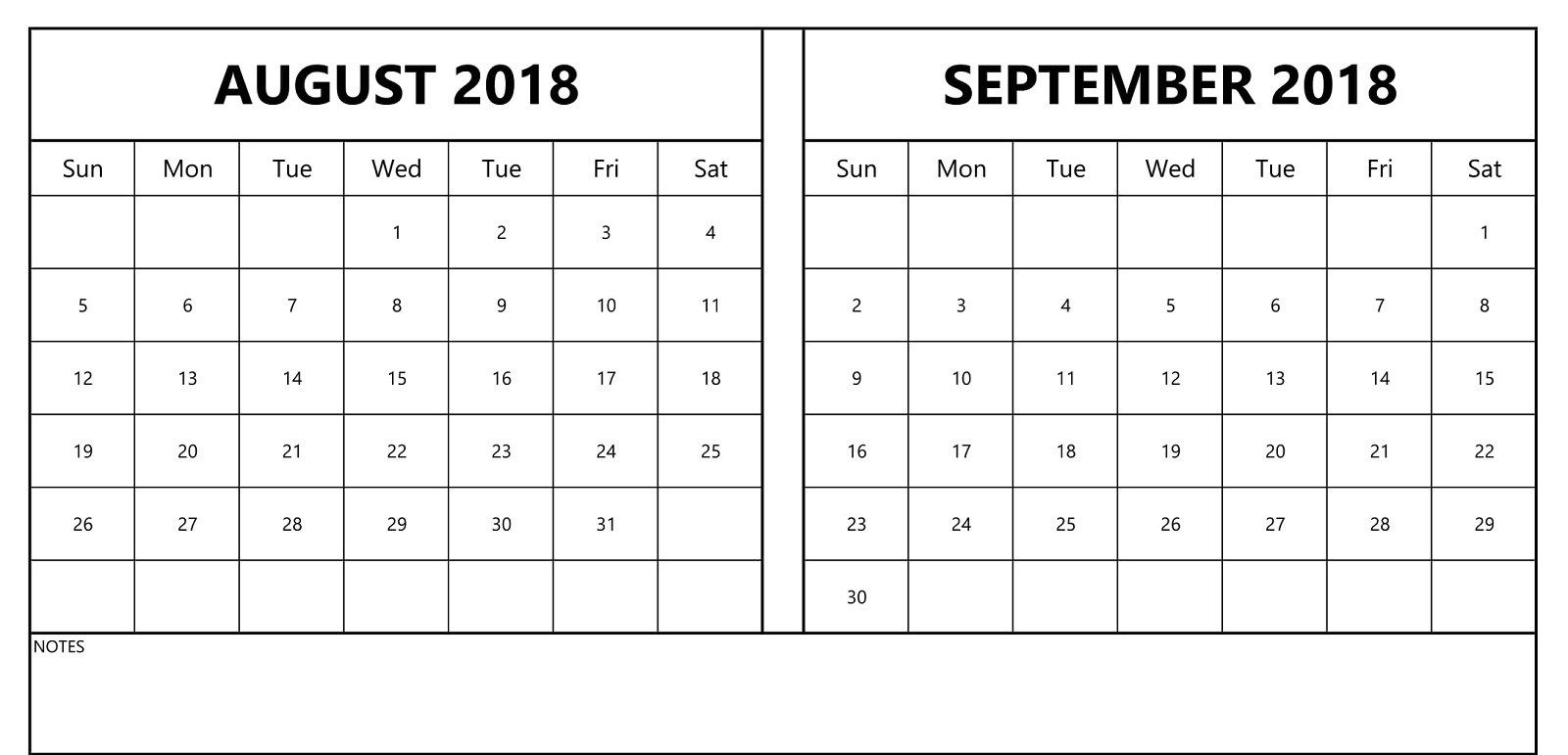 August September 2018 Calendar Print Two Month Template