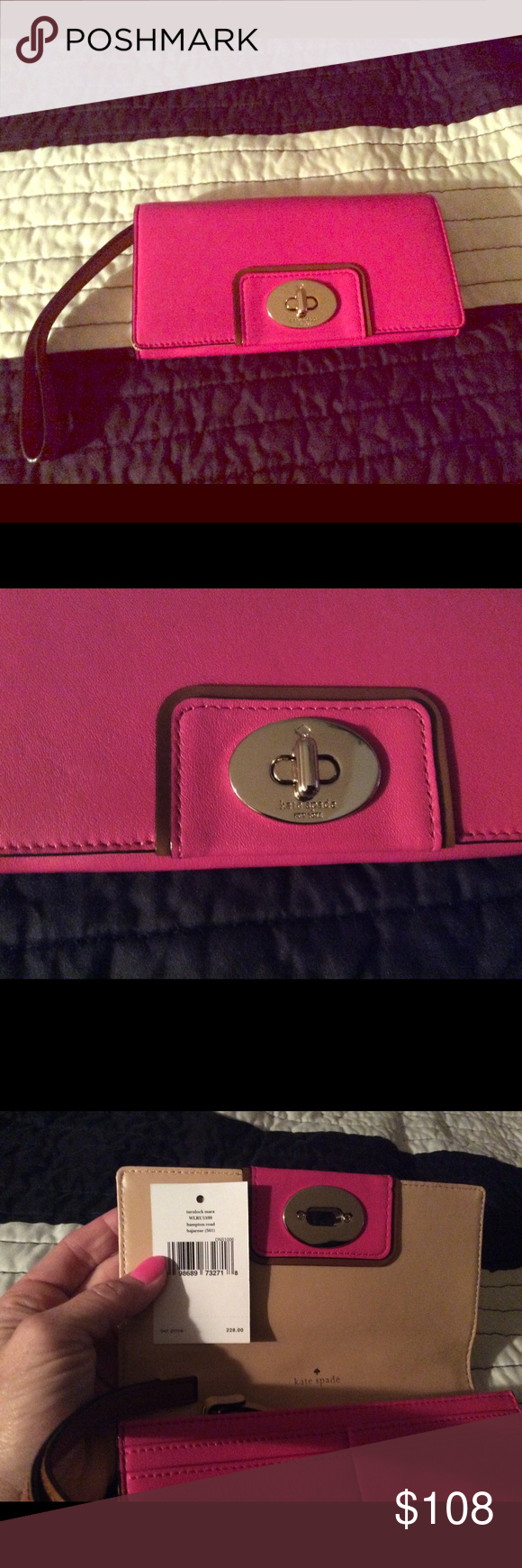 NWOTS Kate Spade pink wallet/wristlet beige strap Smoke pet free home ships same day kate spade Accessories