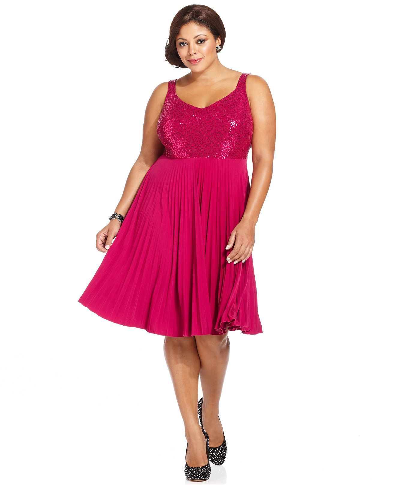 spense plus size dress, sleeveless sequin pleated a-line - plus
