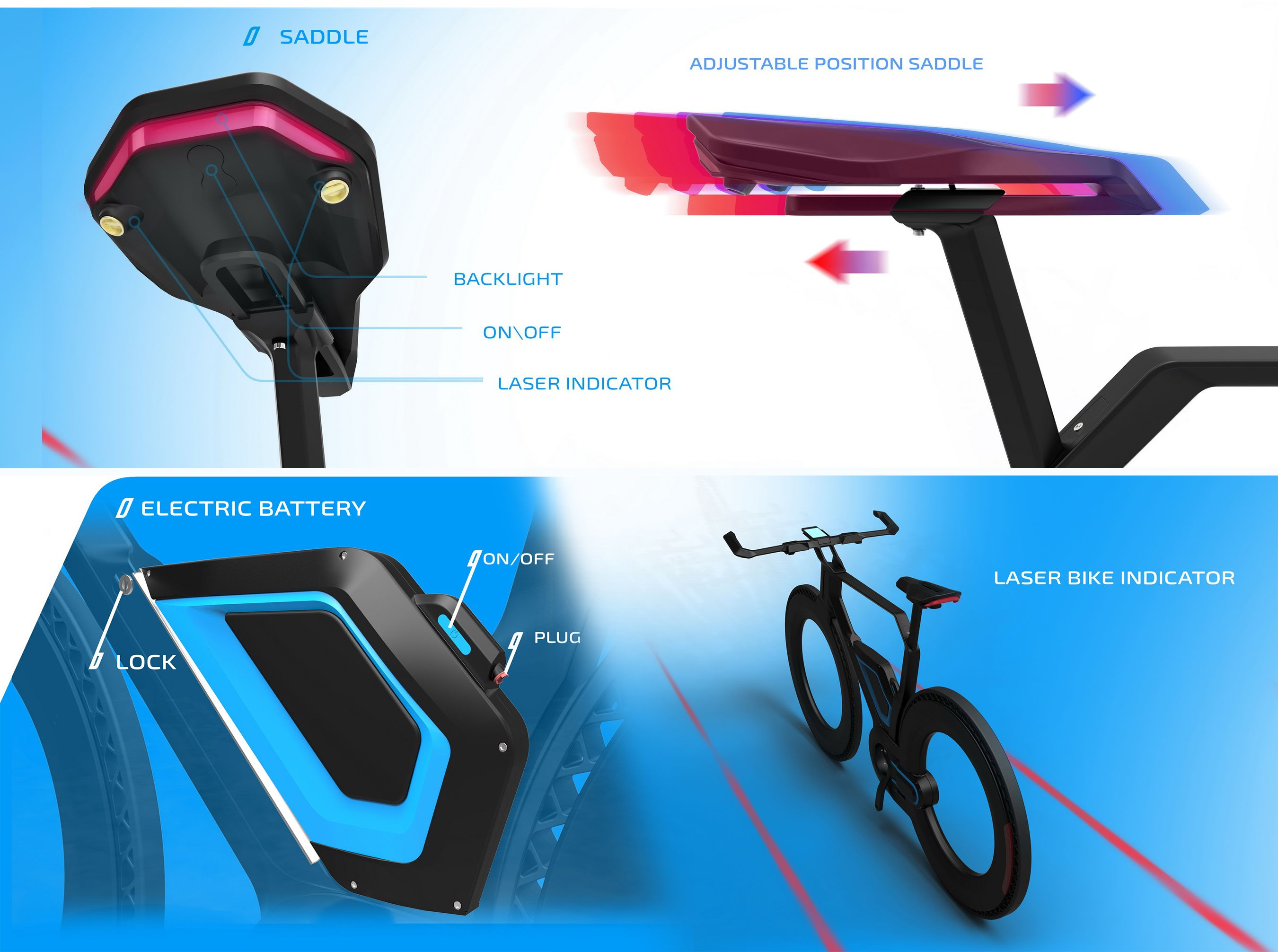 E-bike 2025 concept. Saddle and battery bicycle bike concept