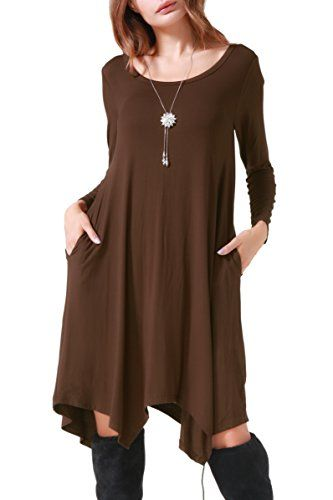 f458c1f9cc14 Invug Women Casual Loose Soft Crewneck Long Sleeve Pockets Swing Tshirt Dress  Coffee L   Click on the image for additional details.