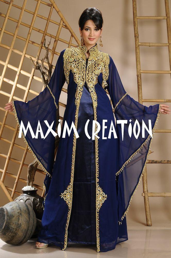 Ihram Kids For Sale Dubai: NEW Moroccan Georgette Kaftan GOLD Embroidery Dubai Abaya