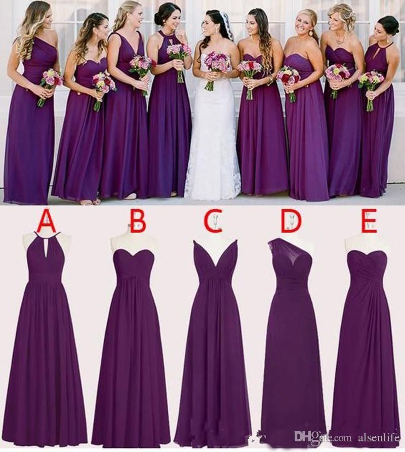 2018 Chiffon Purple Bridesmaid Dresses Floor Length A Line Long Wedding Purple Bridesmaid Dresses Long Purple Bridesmaid Dresses Dark Purple Bridesmaid Dresses