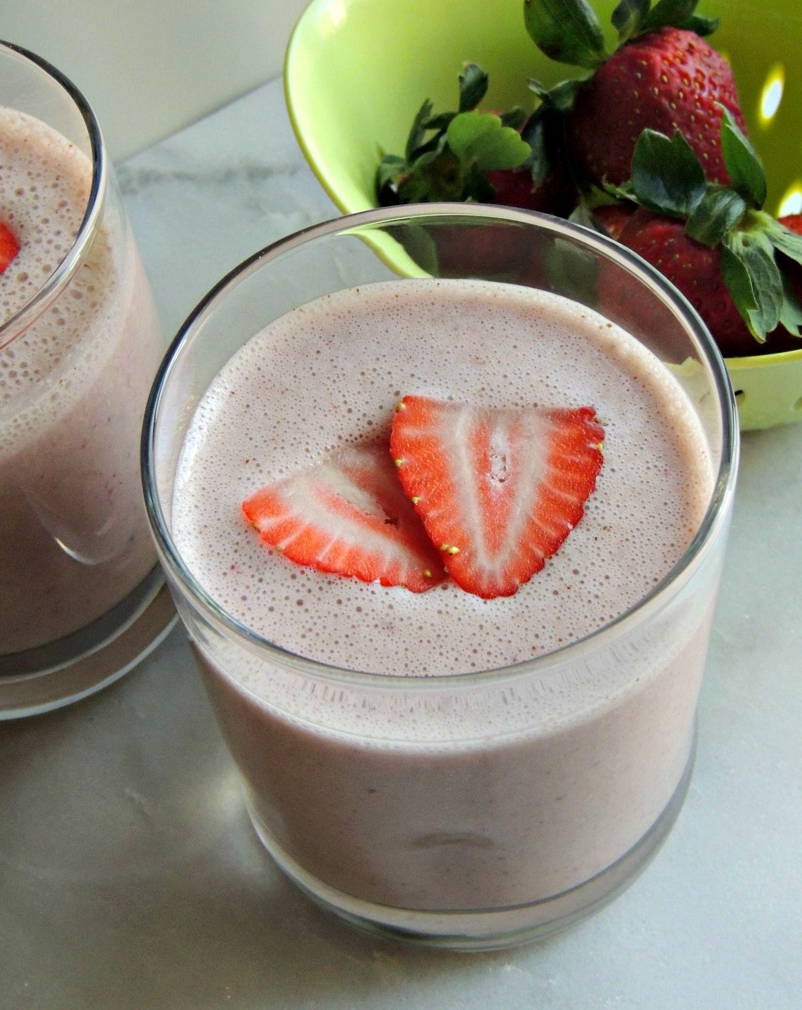 Strawberry Vanilla Almond Butter Protein Shake Recipe