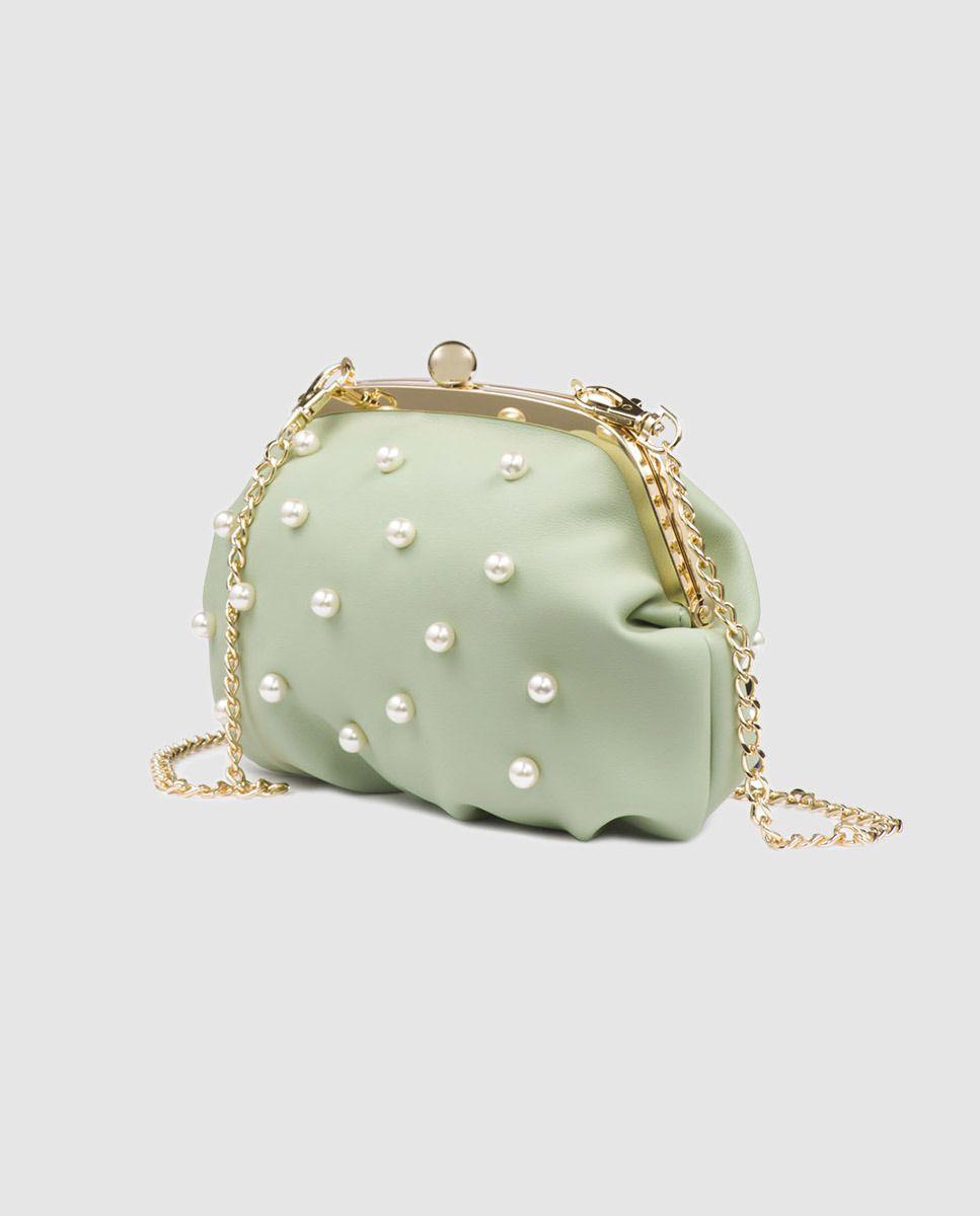 7cd9bf4e6 Clutch de fiesta Tosca Blu en verde con apliques de perlas · Tosca Blu ·  Moda