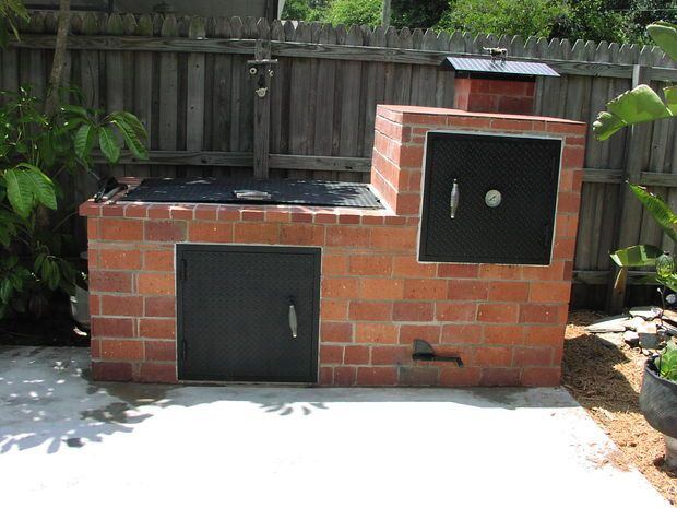 Whats concrete without some steel? hmm? Diy Smoker, Bbq Pit Smoker, Barbecue - Brick Barbecue Outdoors Brick Bbq, Bbq, Brick Grill