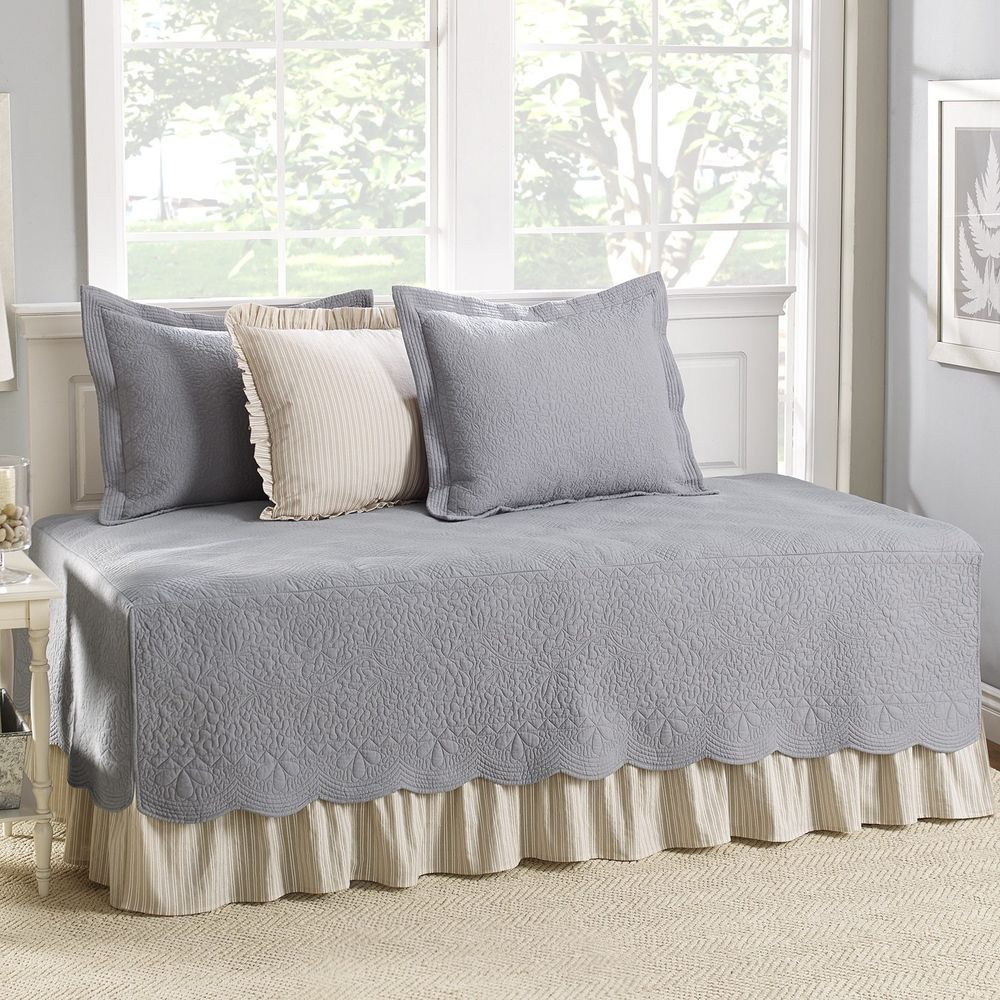 Daybed Cover Set 5 Piece Cotton Quilt Bed Skirt Shams Cotton Bedding Grey - Daybed Cover Set 5 Piece Cotton Quilt Bed Skirt Shams Cotton