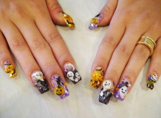 3D Halloween hello kitty nails. | Halloween nails, Nails ...