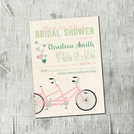 Sale digital printable tandem bicycle bridal shower invitations digital printable tandem bicycle bridal shower invitations wedding bridal shower wedding filmwisefo Choice Image