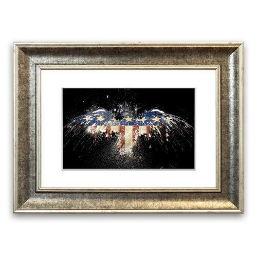 East Urban Home Gerahmtes Poster Adler mit amerikanischer Flagge | Wayfair.de