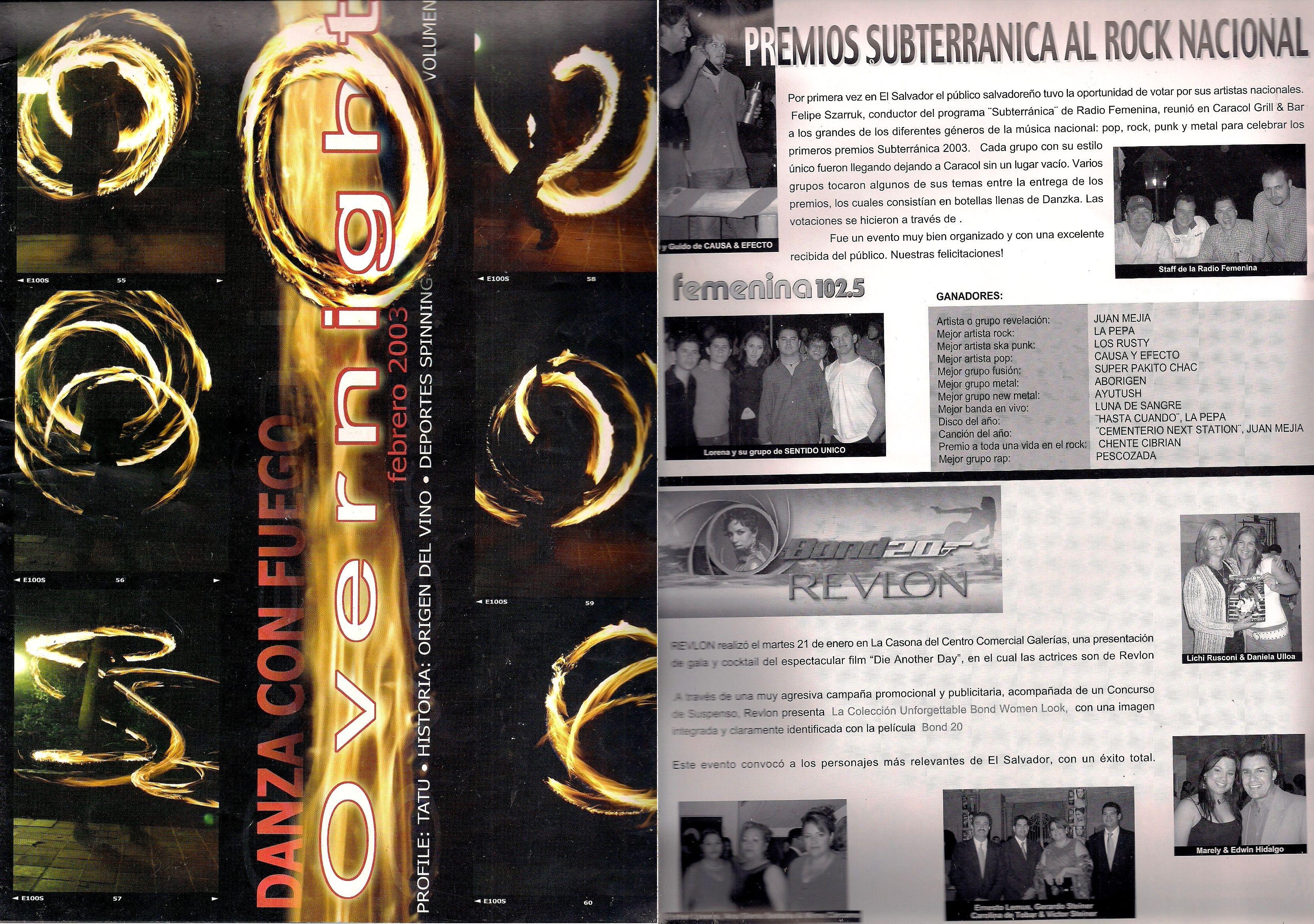 Publicación en Overnigth El Salvador sobre la primera entrega de premios en 2003