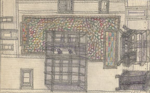 Pearl Blauvelt  Wrap Around Room with Colored Carpet  c. 1940  graphite and colored pencil on paper  5 1/2 x 9 inches