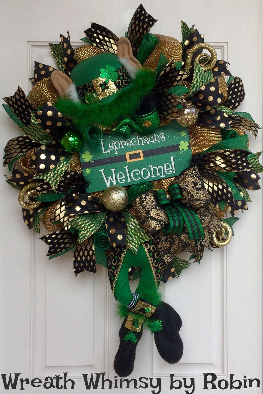 saint patrick 39 s day leprechaun deco mesh wreath front door wreath irish wreath character. Black Bedroom Furniture Sets. Home Design Ideas