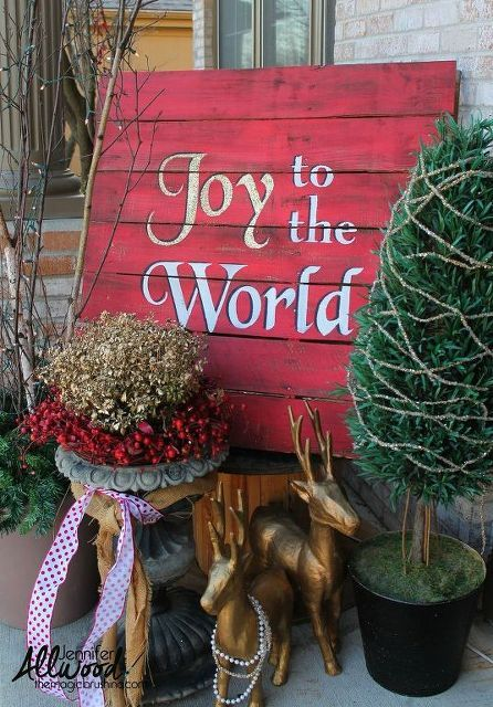 Joy To The World Christmas Pallet Decorations Seasonal Holiday Decor