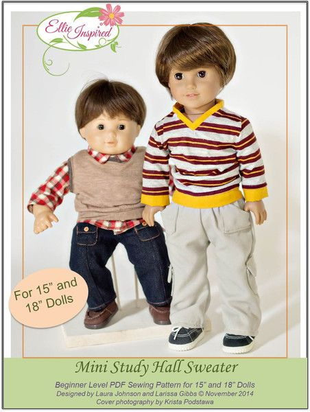 Mini Study Hall Sweater 15 And 18 Doll Clothes 18 Inch Doll Clothes Pattern American Boy Doll Doll Clothes American Girl