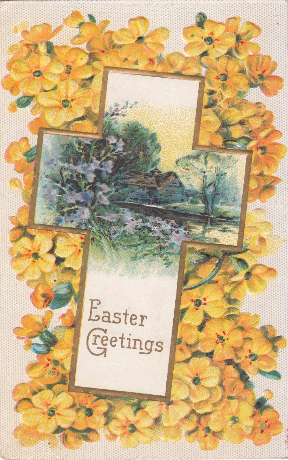 Easter Greetings Yellow Flowers Cross Embossed Vintage Postcard C 1910 | eBay