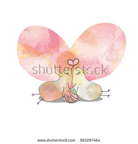 hand draw vector art of  pigeon lover couple sit leaning back together while holding hand in hand look super cute and romantic with big pastel color heart as background