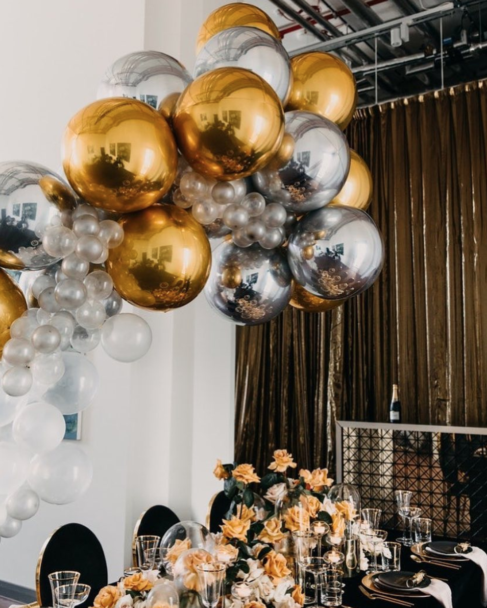 Silver And Gold Balloon Garland Silver Party Decorations Gold