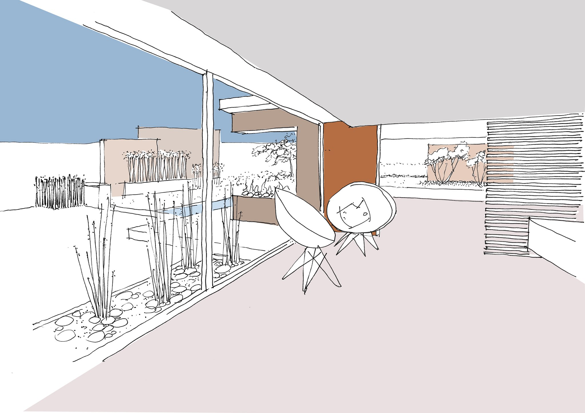Sketch drawing of our latest contemporary sky frame architecture construction interiors project