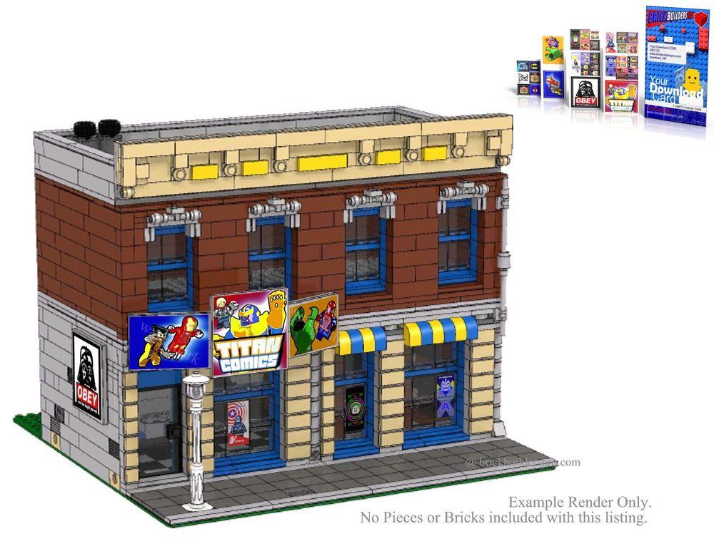 Stickers Instructions Lego Custom Comic Book Shop City Modular