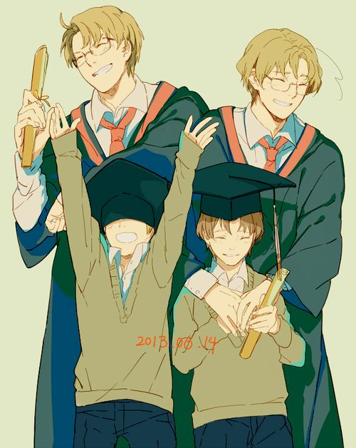 Alfred and Matthew as graduates, along with their younger selves - Art by nineo-nineo.tumblr.com