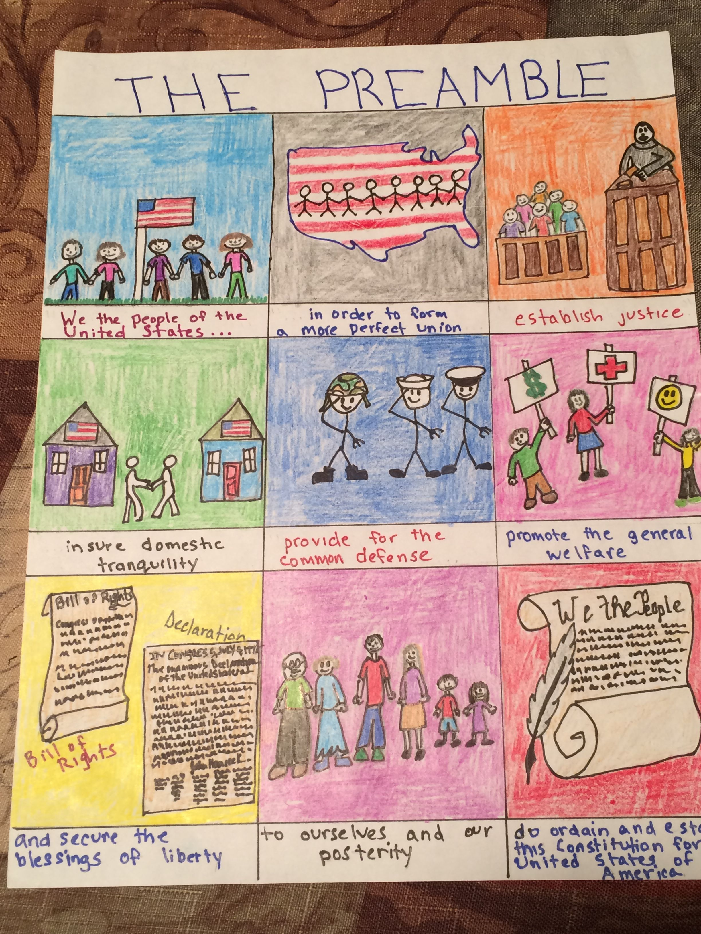 small resolution of Define the Constitution's Preamble in pictures 8th grade   Social studies  projects