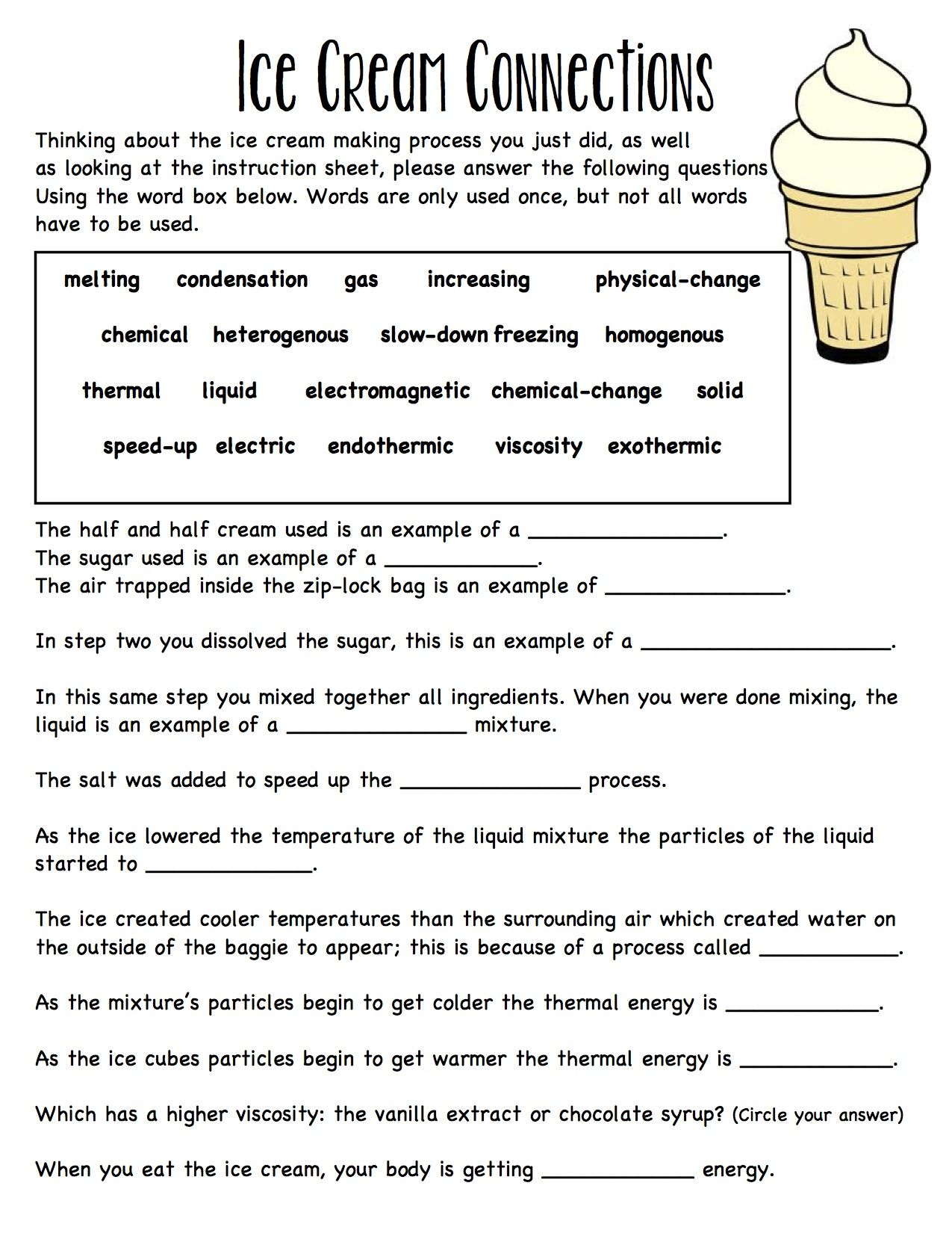 worksheet Thermal Energy Worksheet baggie ice cream worksheet connecting ideas together solid liquid gas melting