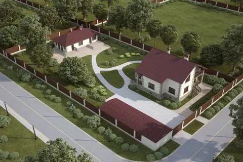 дизайн участка 12 соток с домом и баней 6